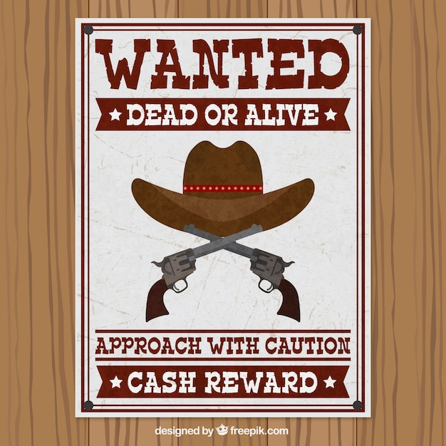 Wanted poster with hat and pistols Vector Free Download