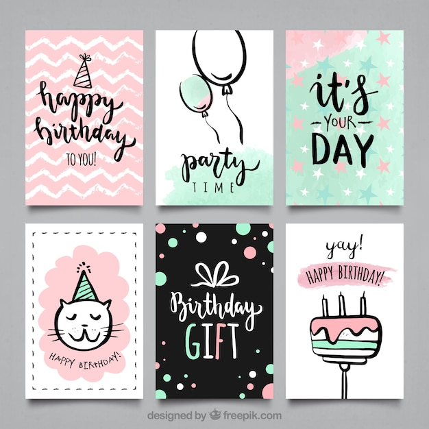 Water color bithday party cards collection Vector Free Download