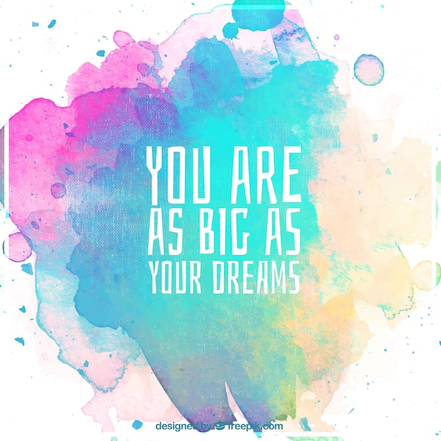 Watercolor background with motivational quote Vector Free Download