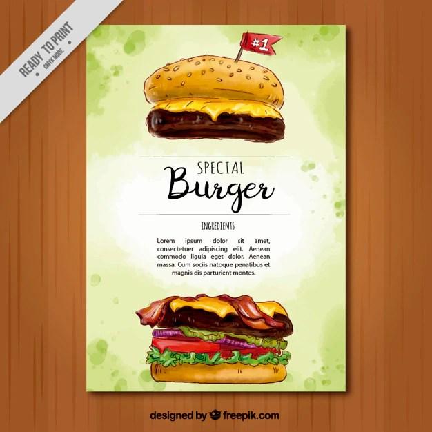 Watercolor brochure of special hamburger Vector Free Download