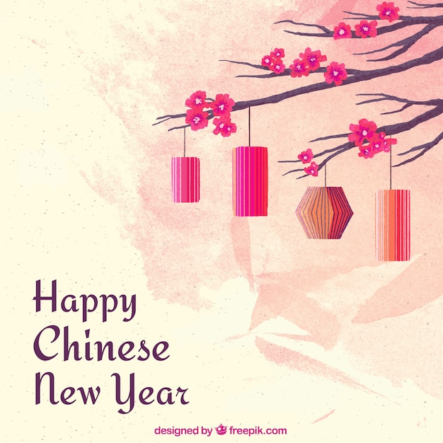 Watercolor chinese new year background Vector Free Download