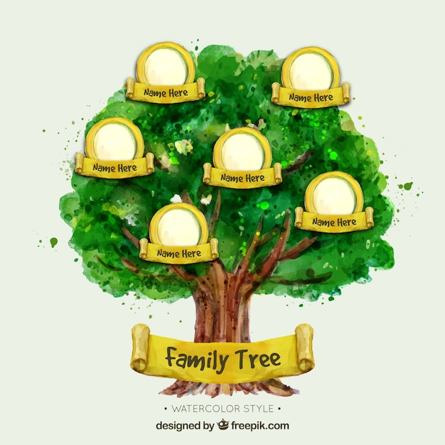 Watercolor family tree with yellow elements Vector Free Download