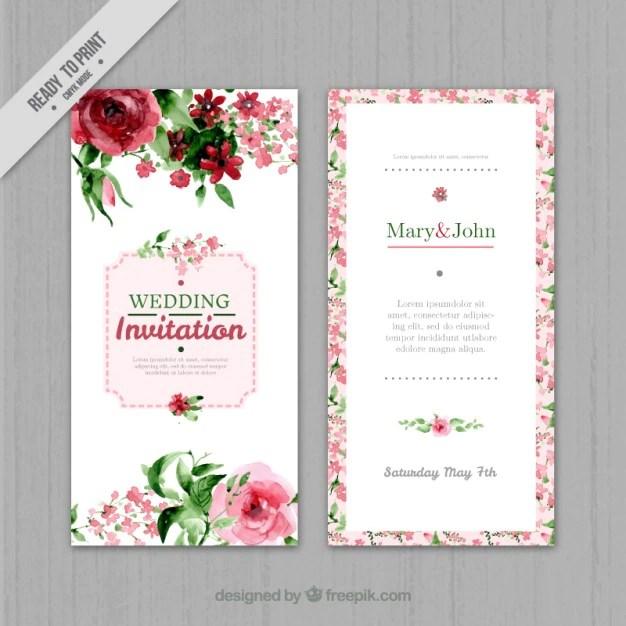 Watercolor floral wedding invitation Vector Free Download
