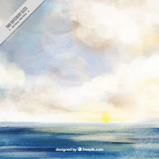 Watercolor ocean background Vector Free Download