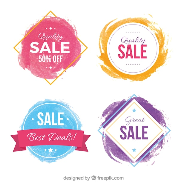 Watercolor sales label collection Vector Free Download