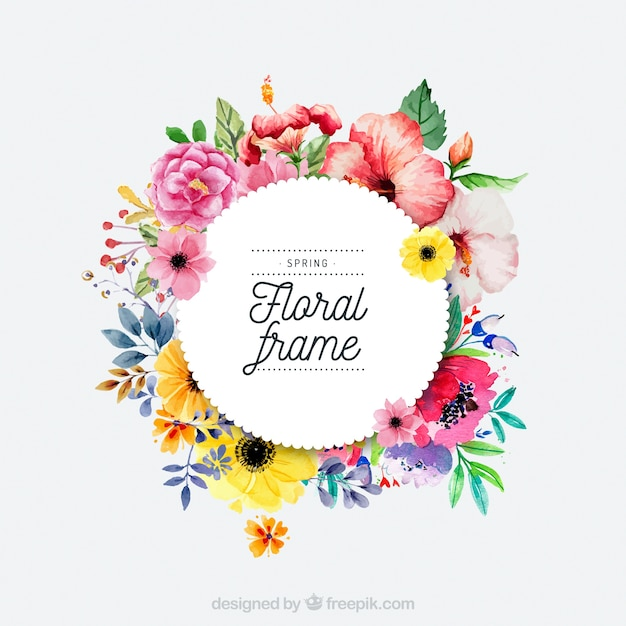 Watercolor spring floral frame Vector Free Download - photo of spring