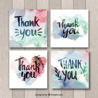 Watercolor thank you cards collection Vector