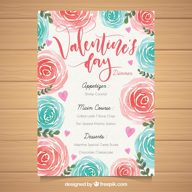 Watercolor valentine\u0027s day menu template Vector Free Download - valentines day menu template
