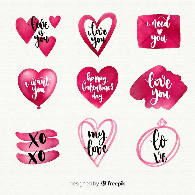 Watercolor valentines day label collection Vector Free Download