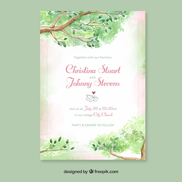 Watercolor wedding invitation template with floral style Vector