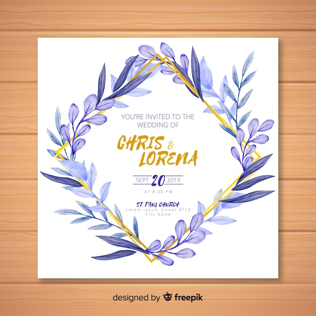 Watercolor wedding invitation template with golden lines Vector