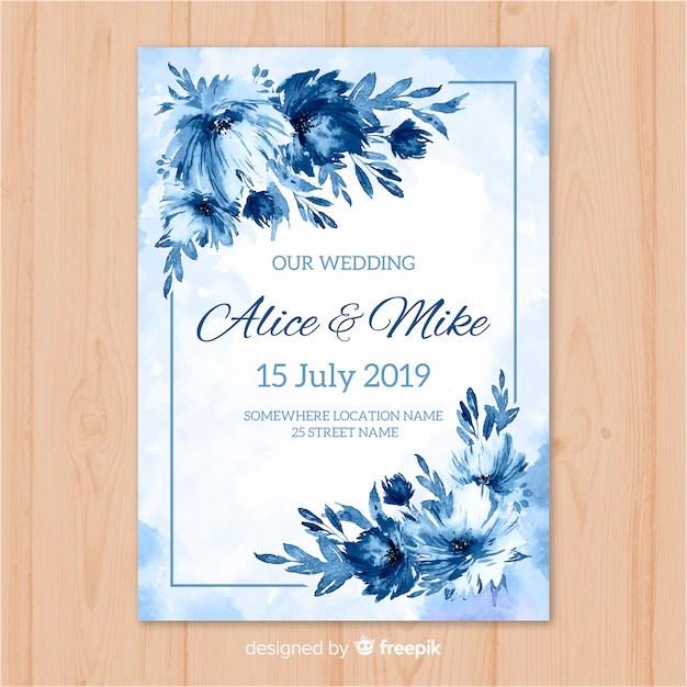Watercolor wedding invitation template Vector Free Download