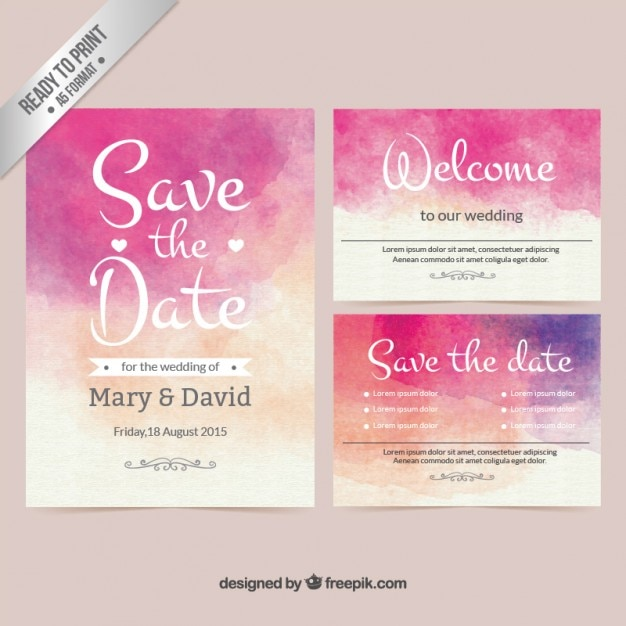 Watercolor wedding invitation Vector Free Download - create invitation card free download