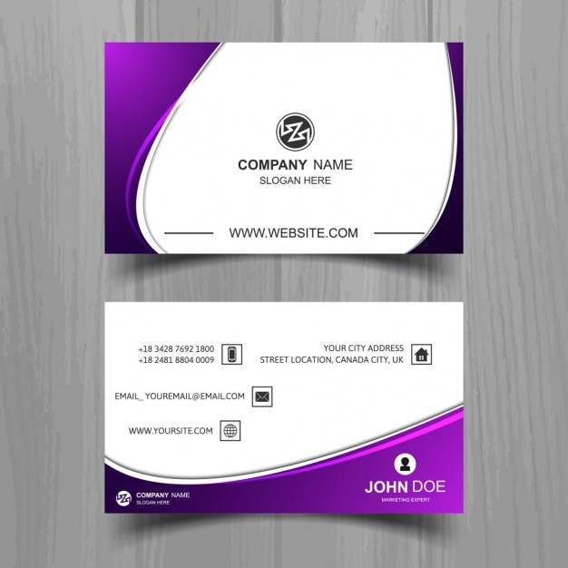 Wavy business card with purple details Vector Free Download