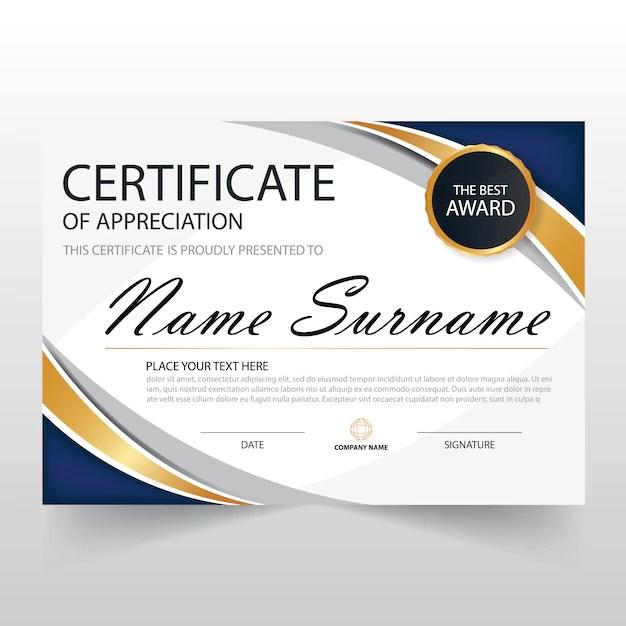 Wavy certificate of appreciation template Vector Free Download