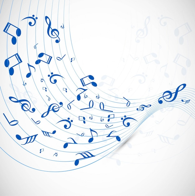 Wavy music background Vector Free Download