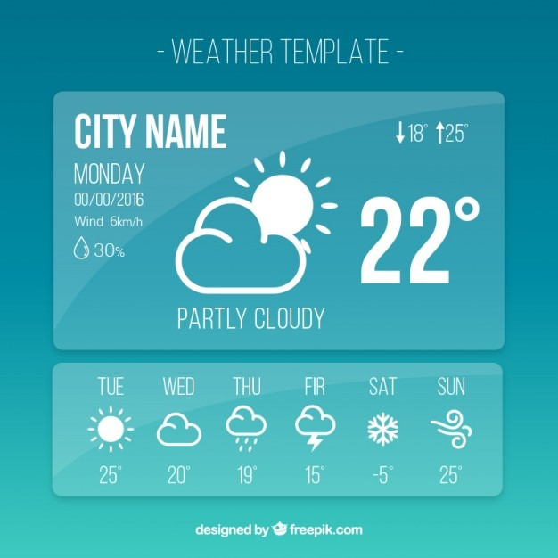 Weather template app in simple style Vector Free Download