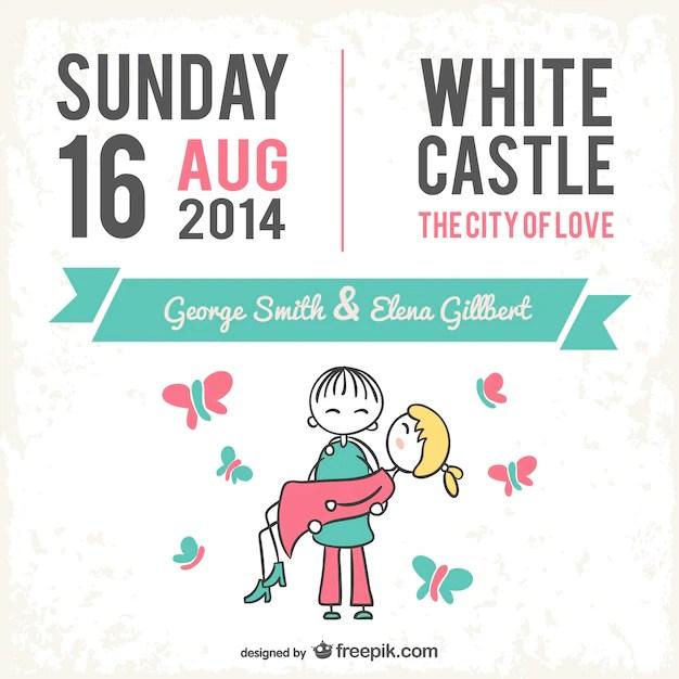 Wedding card cute cartoon design Vector Free Download - free wedding invitation card templates