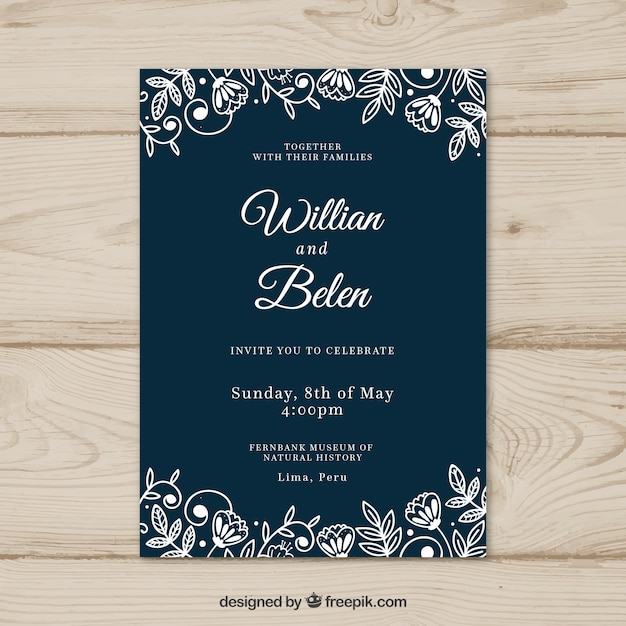 Wedding card invitation with flowers Vector Free Download
