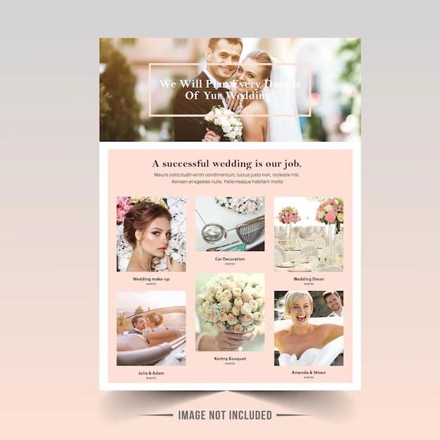 Wedding flyer template Vector Premium Download