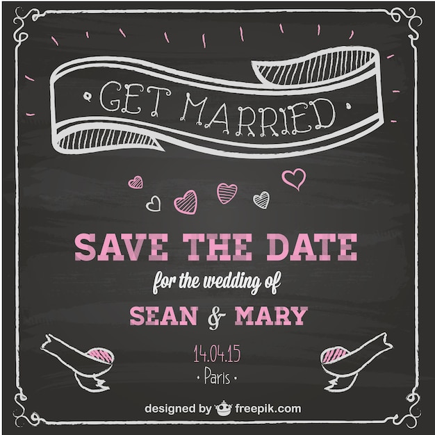 Wedding invitation chalkboard design Vector Free Download - chalk board invitation template