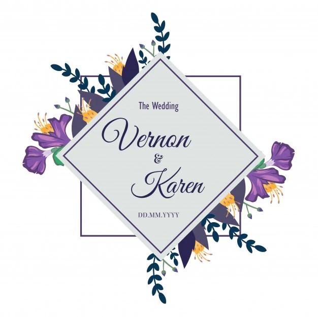 Wedding invitation frame border template Vector Premium Download