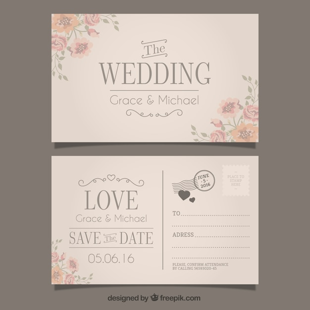 Wedding invitation in postcard style Vector Free Download - post card invitations