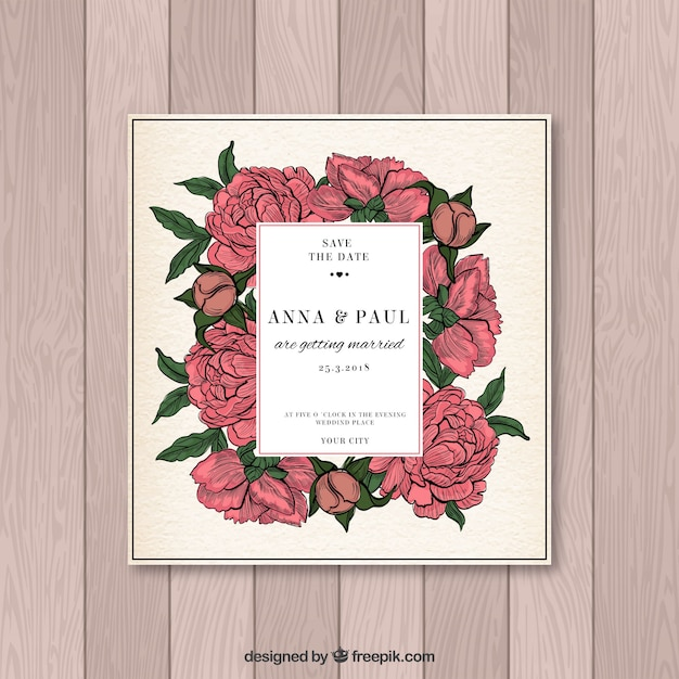 Wedding invitation in vintage style Vector Free Download