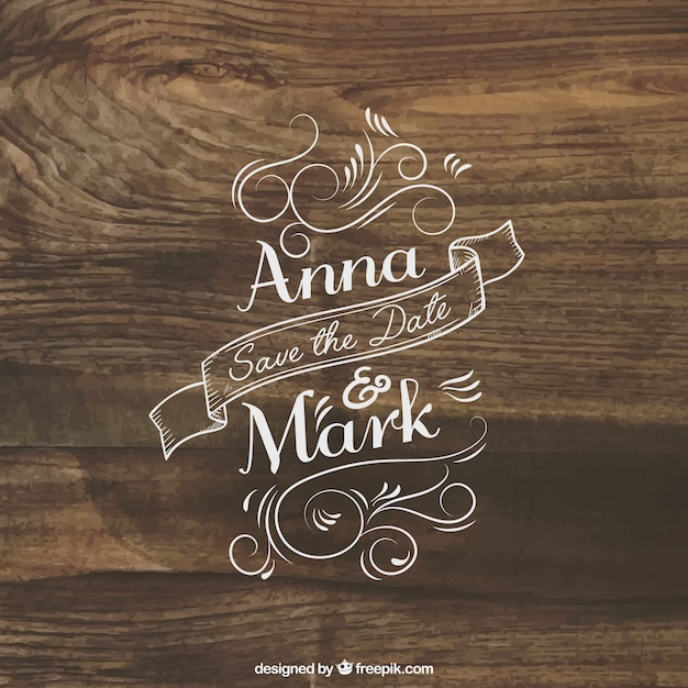 Wedding invitation lettering on wood Vector Free Download