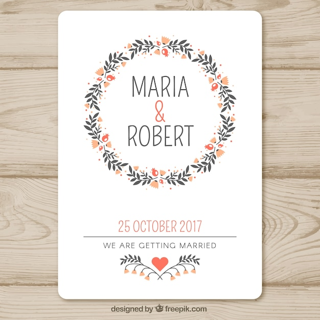 Wedding invitation template with floral garland Vector Free Download - wedding template