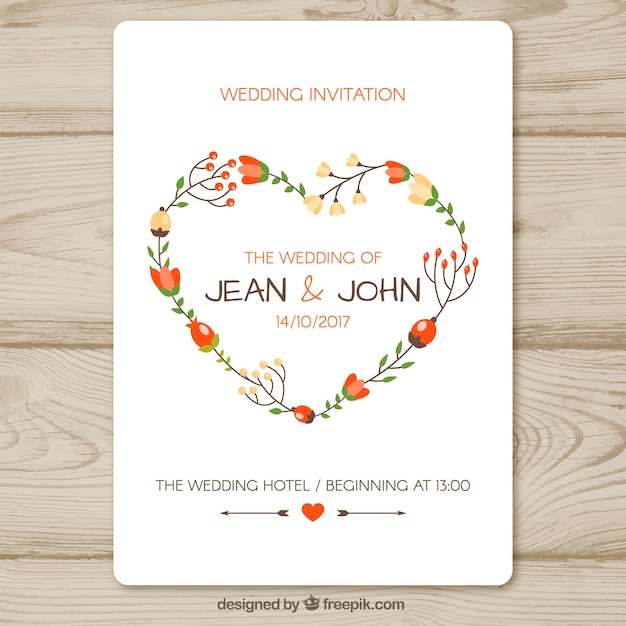 Wedding invitation template with floral heart Vector Free Download - wedding template