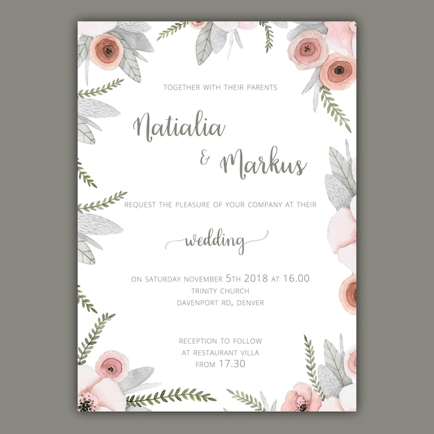 Wedding invitation template with pastel flowers Vector Free Download - free downloadable wedding invitation templates