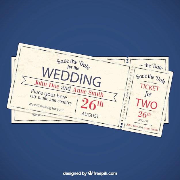 Wedding invitation tickets Vector Free Download
