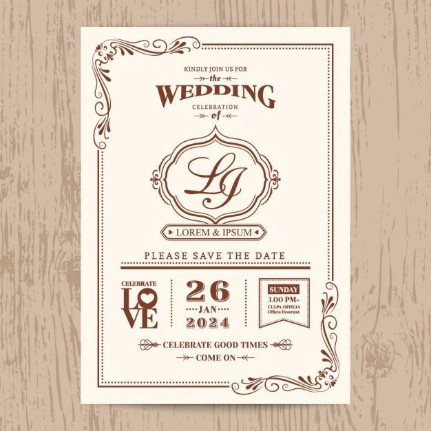 Wedding invitation, vintage style Vector Free Download