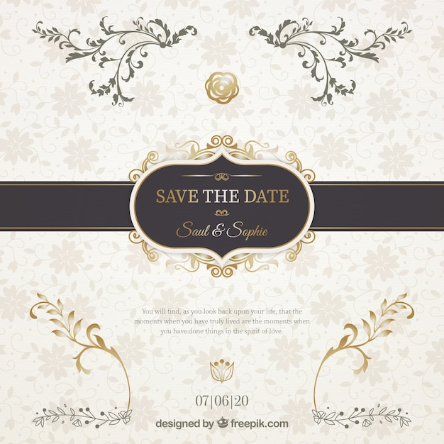 Wedding invitation with elegant black ribbon Vector Free Download