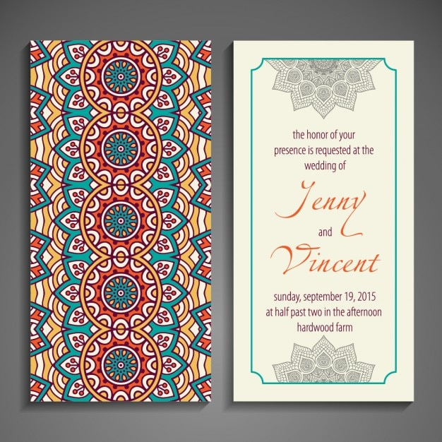 Wedding invitation with ethnic forms Vector Free Download
