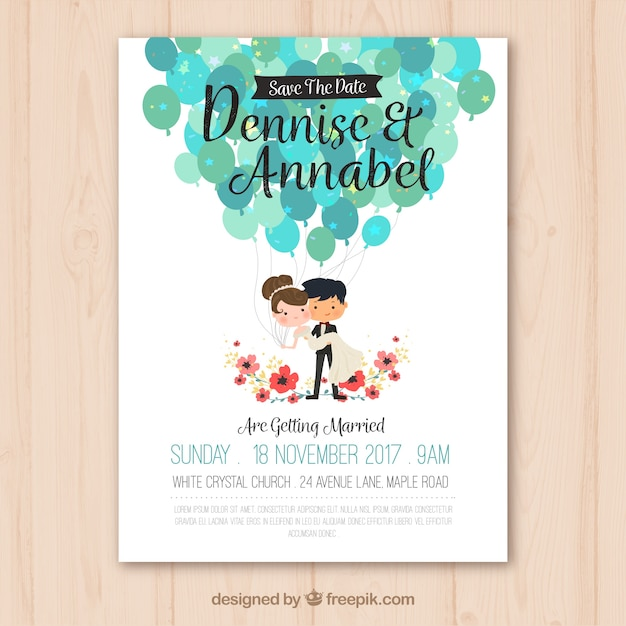 Wedding invitation with nice couple Vector Free Download