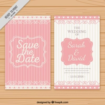 Wedding invitation with pink stripes Vector | Free Download