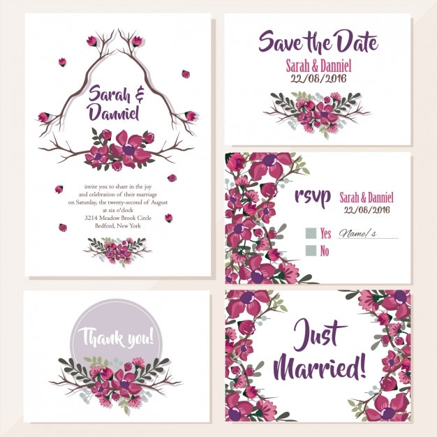 Wedding invitations floral design Vector Free Download - create invitation card free download