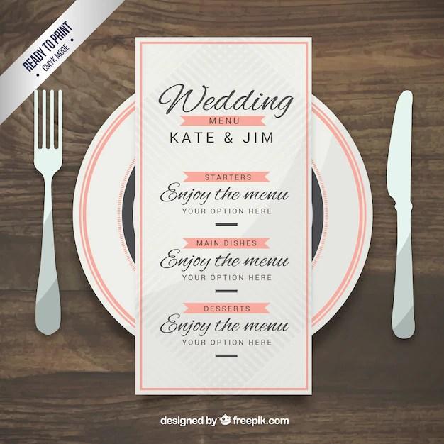 Wedding menu template in elegant style Vector Free Download