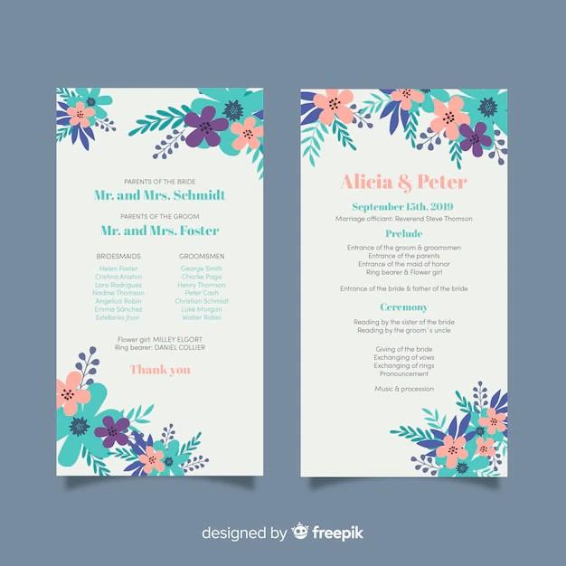 Wedding program template Vector Free Download