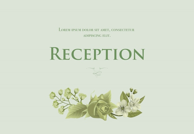 Wedding reception card template with blossom, rose and lily of