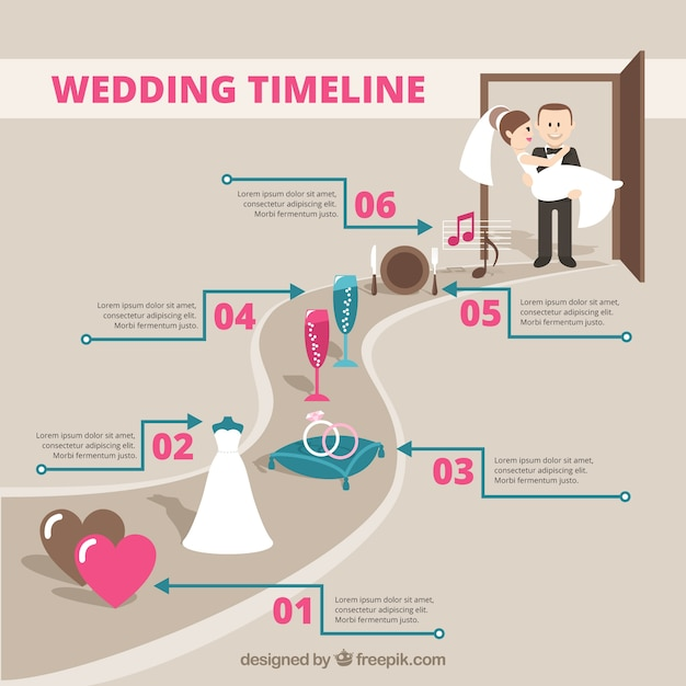 Wedding timeline infography Vector Free Download - wedding timeline