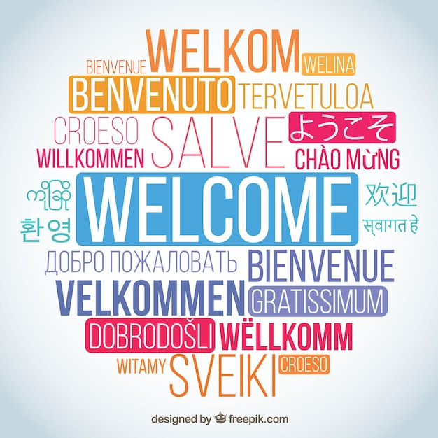 Welcome word composition in different languages Vector Free Download