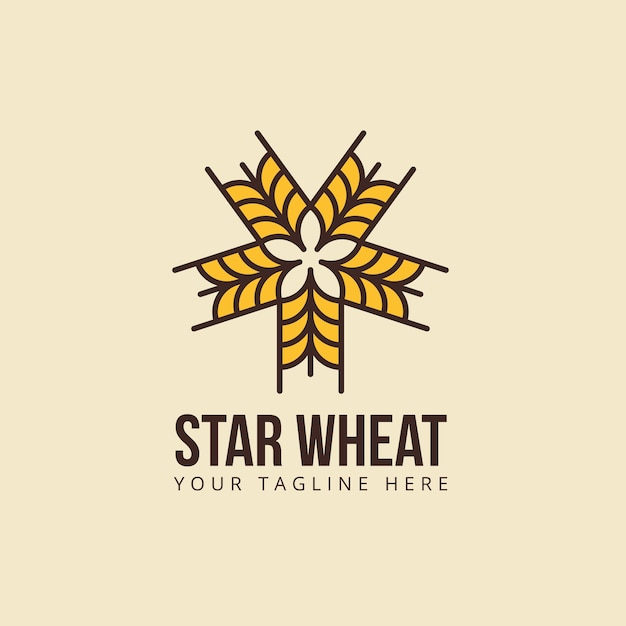 Wheat Logo Star Shape Template Vector Premium Download - wheat template