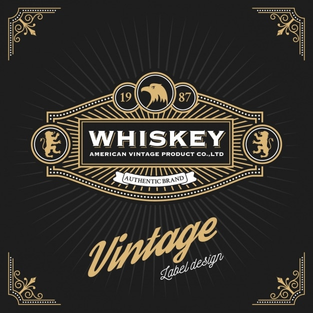 Whiskey label design Vector Free Download