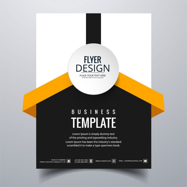 White, black and orange geometric brochure Vector Free Download