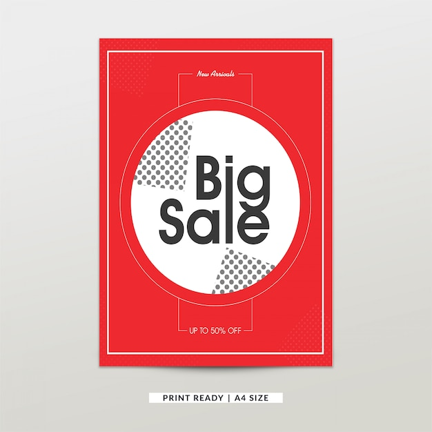 White and coral red big sale poster template Vector Free Download