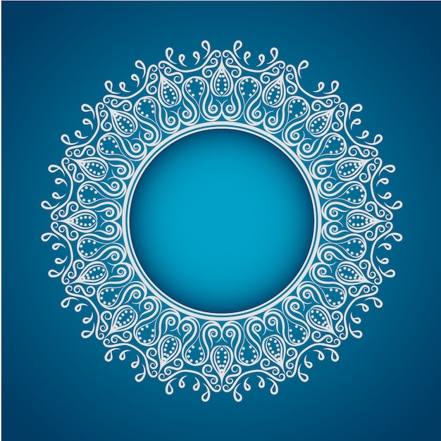 Cute Indian Baby Images For Wallpaper White Mandala On Blue Background Vector Free Download