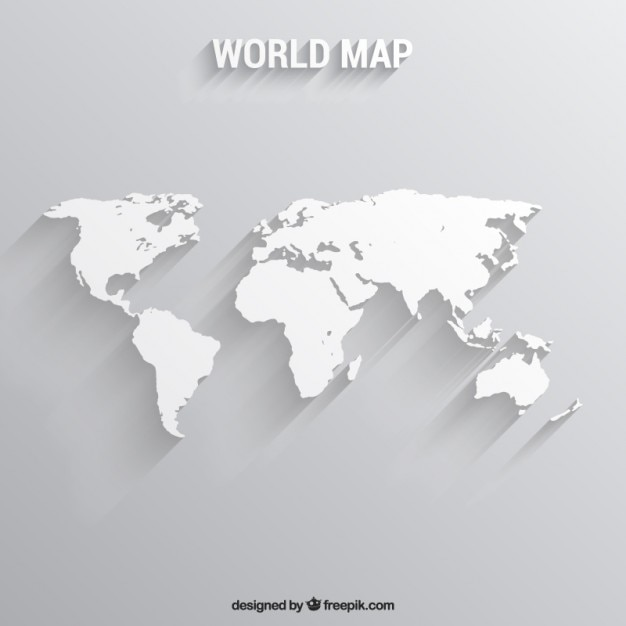 White World Map Vector Free Download